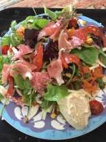 ham, salami and humus salad