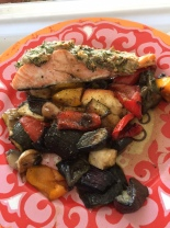 pesto topped salmon and roast veggies