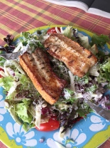 Belly pork strips and salad